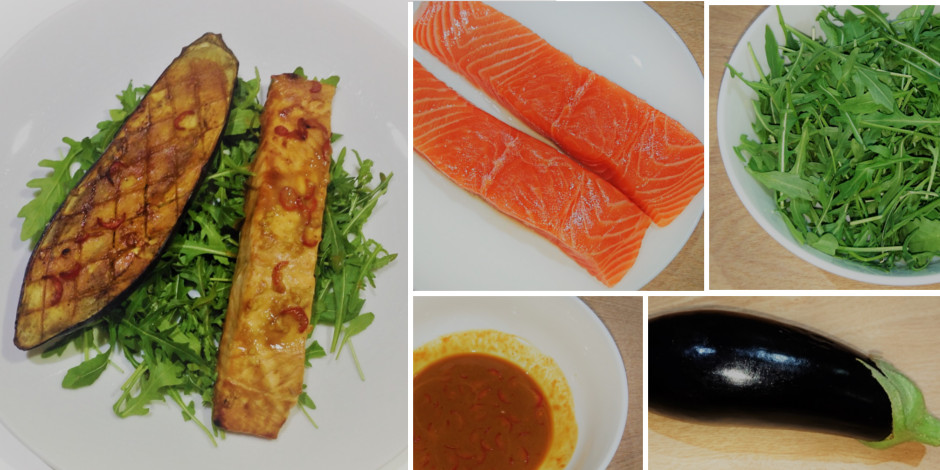healthy recipe miso salmon aubergine